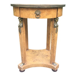 1960s Italian Burlwood Side Table With Brass Accents For Sale