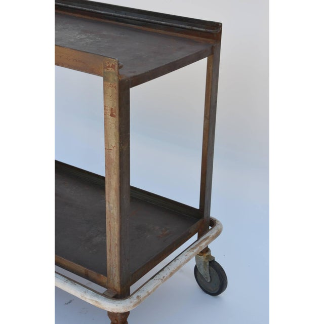1950s 1950s Sturdy Industrial Bar Cart on Wheels For Sale - Image 5 of 8