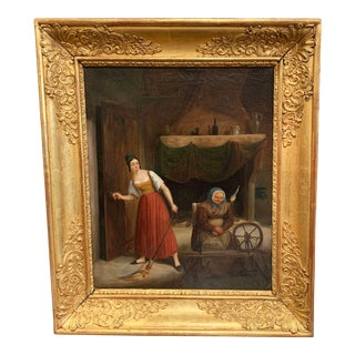 18th Century French Oil on Canvas Painting in Carved Giltwood Frame For Sale
