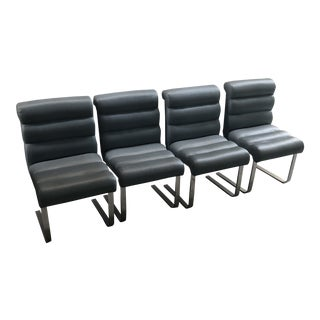 1970s Vintage Pace Collection Blue Cantilevered Chairs- Set of 4 For Sale