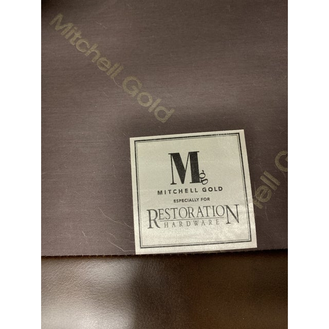 Cabin Restoration Hardware Mitchell Gold Leather Armchair For Sale - Image 3 of 10
