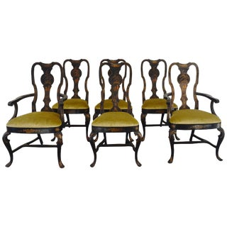 Set of Six Black Chinioserie Dining Chairs For Sale