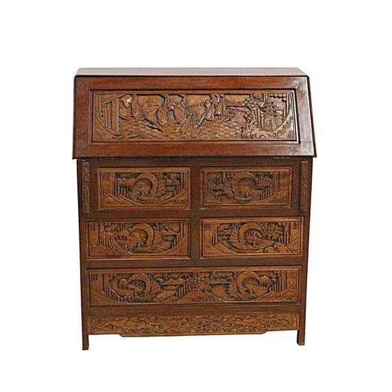 Vintage Hand Carved Chinese Desk W/Drop Down Front - Image 3 of 5