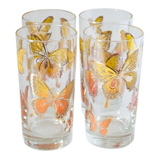 "1971 Libbey Glass Co. ""Flutter"" Butterfly Highballs - Set of 4 For Sale"