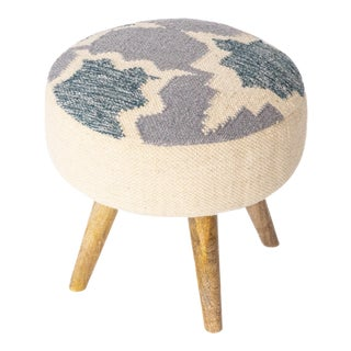 Handwoven Indigo Patterned Stool For Sale