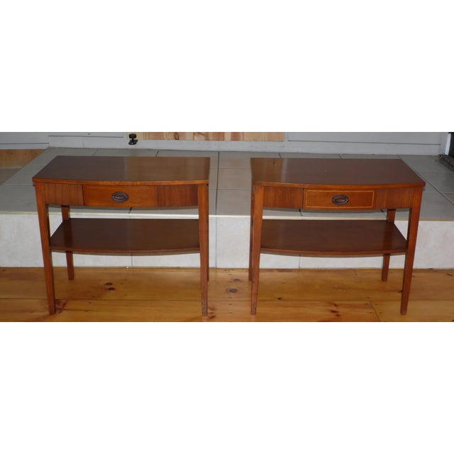 Vintage Pair Traditional Federal Mahogany End Tables Nightstands Mersman Tables For Sale - Image 13 of 13