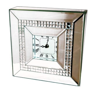 Beveled Mirrored Jewel Box Style Table Clock For Sale