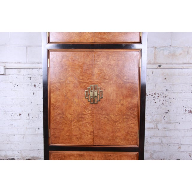Century Furniture Century Furniture Black Lacquer and Burl Wood Chinoiserie Armoire Dresser For Sale - Image 4 of 13