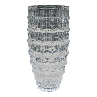 Vintage Geometric Art Deco Style Glass Vase For Sale