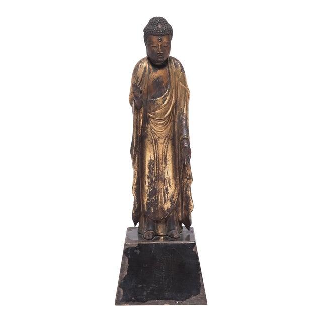 19th Century Japanese Gilt Standing Buddha For Sale