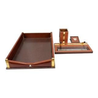 Mark Cross 4 Piece Leather Desk Set For Sale