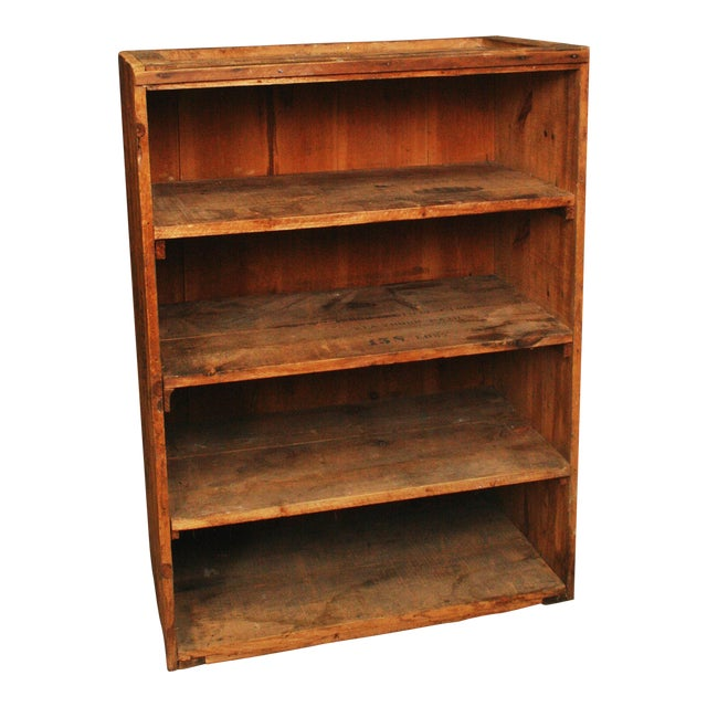 Vintage Industrial Wood Bookcase made from Underwood Typewriter Crates For Sale