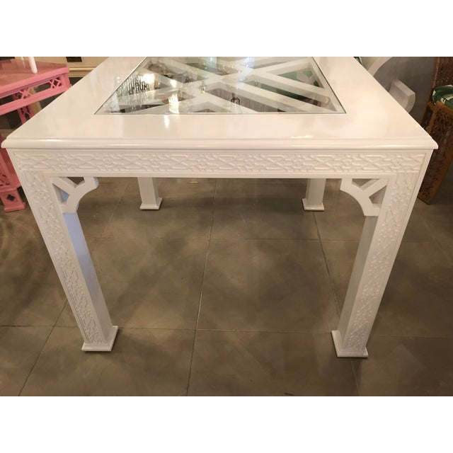 White Chinese Chippendale Lacquered Game Dining Table For Sale - Image 8 of 10
