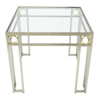 Square Brass Rings Chrome Frame Shape Base Glass Top Side Table For Sale