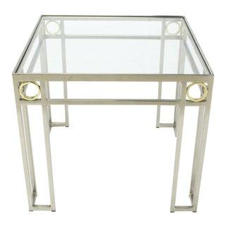 Square Brass Rings Chrome Frame Shape Base Glass Top Side Table