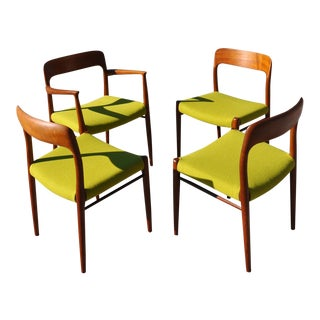 1960s Vintage Niels Moller Solid Teak Danish Dining Chairs- Set of 4 For Sale
