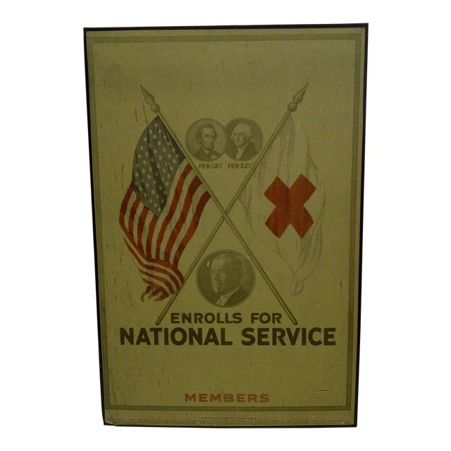 Vintage World War I Enrolls for National Service Members School Poster - Image 1 of 6