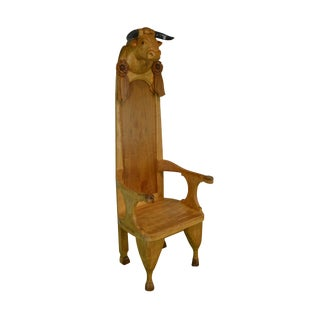 Hand Carved Bull Head With Horns Throne Chair For Sale