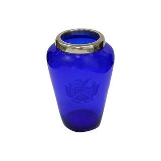 Antique Cobalt & Sterling Vase W/ Crest For Sale