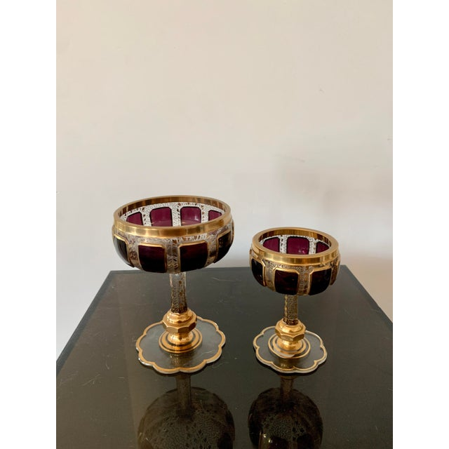 Metal 1930s Moser Bohemian Crystal Cabochon Coupes- Set of 4 For Sale - Image 7 of 9
