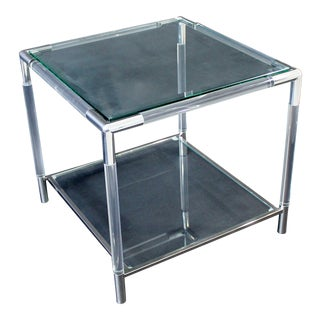 Mid-Century Modern Charles Hollis Jones Era Chrome Lucite Glass Coffee Table For Sale