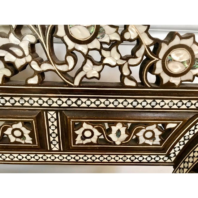 Antique Moroccan Bench With Inlaid Mother of Pearl and Abalone For Sale - Image 9 of 13
