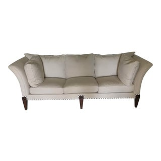 Cream Colored Beautiful Sofa - 1830s Vintage English Splayed Arm Sofa For Sale