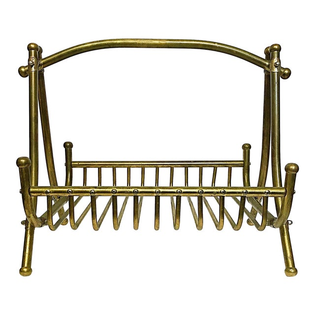 Vintage Brass Magazine Rack For Sale
