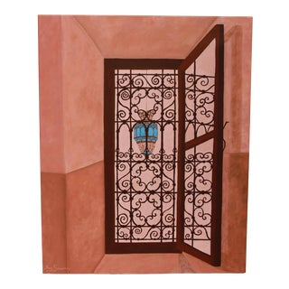 Moroccan Riad Window Painting For Sale