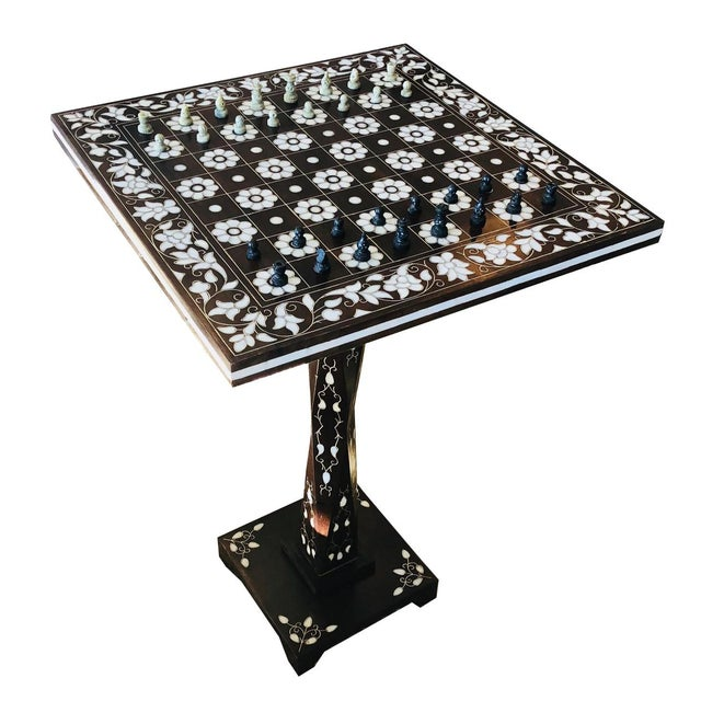 Mother of Pearl Inlay Chess Board Table For Sale - Image 10 of 10