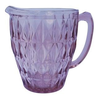 Vintage Coral Pink Depression Glass Beverage Pitcher Windsor Diamonds by Jeannette Glass Co. For Sale