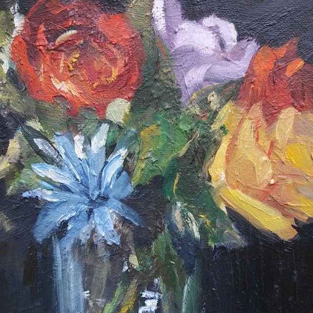 This original oil painting of summer flowers is by American artist Paula McCarty. The paint is thick and contradicts the...