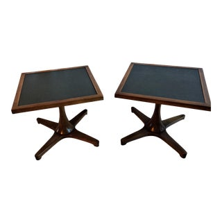 Mid Century Modern Walnut Pedestal End Tables - a Pair For Sale