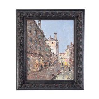 1990s Morgan Impressionist Inspired European Street Scene Oil Painting For Sale