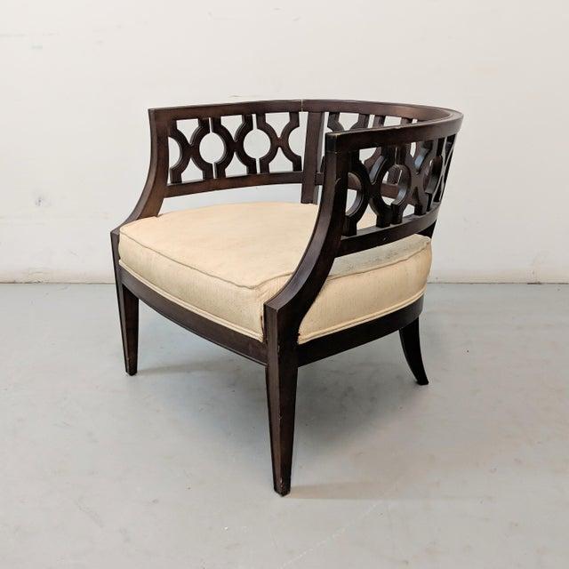 1970s Vintage Hollywood Regency Lattice Barrel Back Lounge Chair For Sale - Image 13 of 13
