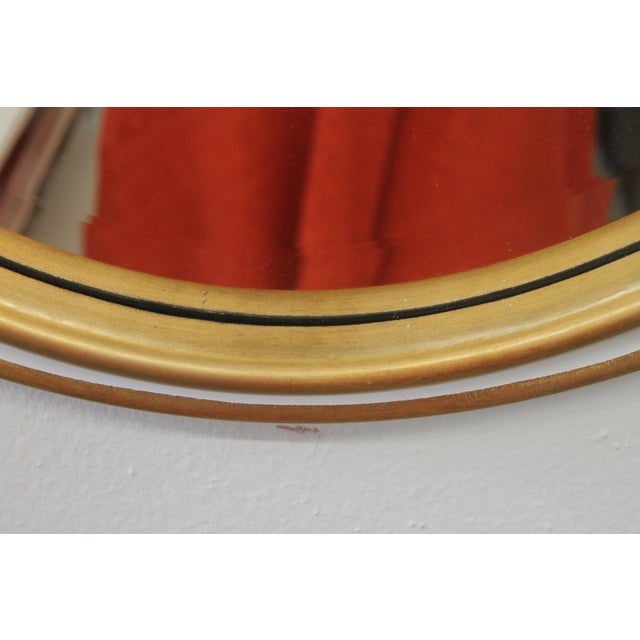 Art Deco White and Gold Oval Mirror For Sale - Image 3 of 5