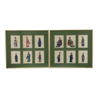 Qing Dynasty Wedding Polychrome on Vellum Drawings - Set of 2 For Sale