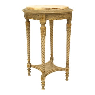 French Louis XVI Grey Painted Marble Top End Table For Sale