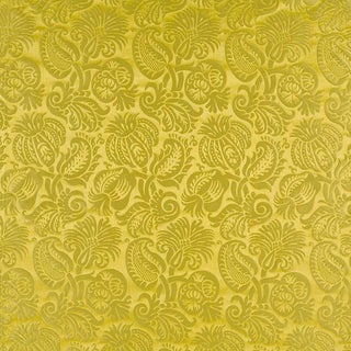 Sample, Suzanne Tucker Home Grenade Silk Damask in Chartreuse For Sale