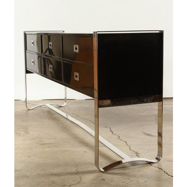 Steel & Wood Sideboard with Black Enamel Finish - Image 6 of 9