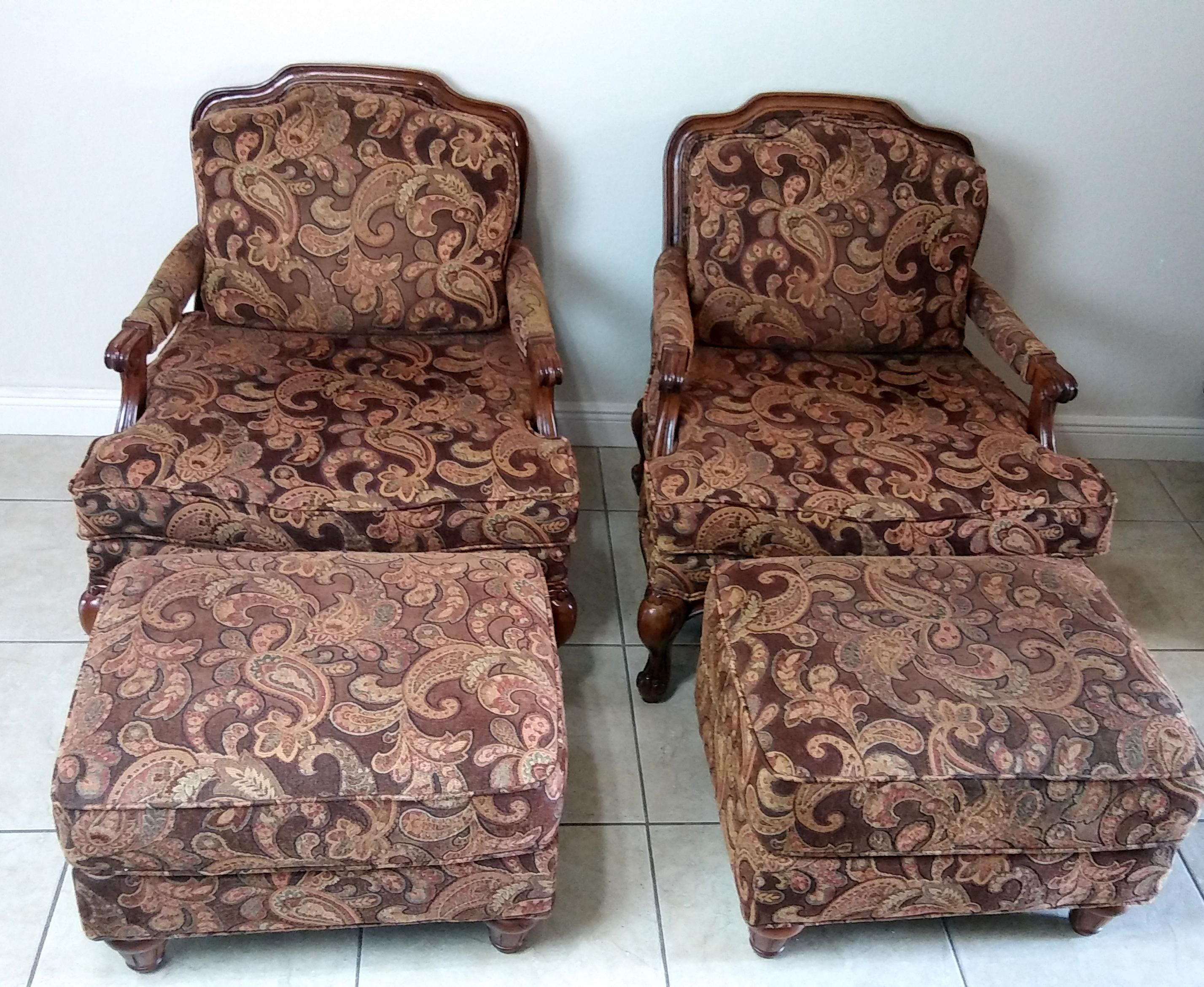 Charmant Flexsteel French Provincial Bergere Chairs U0026 Ottomans   A Pair   Image 2 Of  11