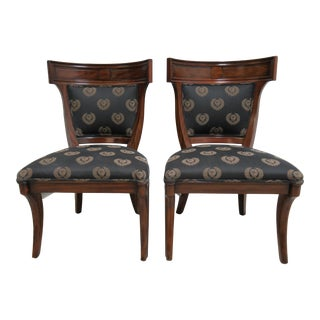 1980s Vintage Drexel Heritage Klismos Neo Classical Dining Side Chairs- A Pair For Sale