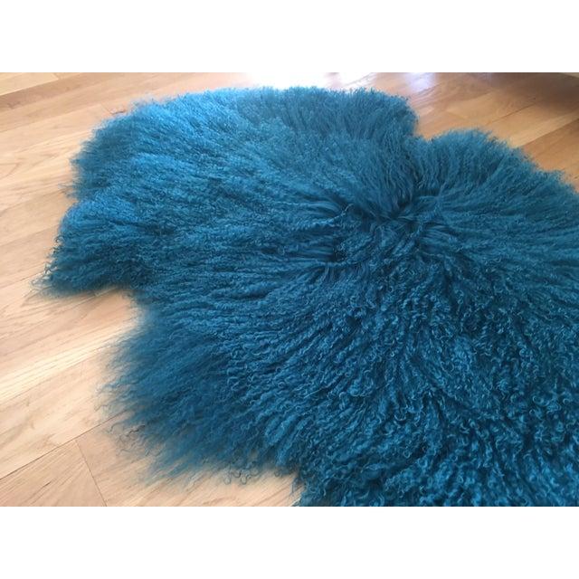 Turquoise Tibetan Lamb Fur Rug - 2′9″ × 4′1″ For Sale - Image 5 of 6