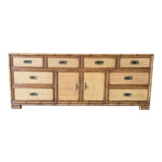 Drexel Heritage Faux Bamboo and Grass Cloth Lowboy Dresser For Sale