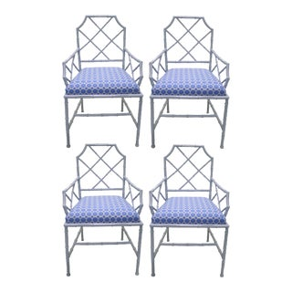 Chinese Chippendale Style Gray Metal Bamboo Dining Chairs - Set of 4