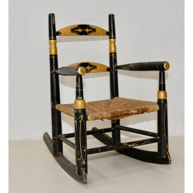 Gold Antique Doll Rocking Chair c.1890s For Sale - Image 8 of 8 - Antique Doll Rocking Chair C.1890s