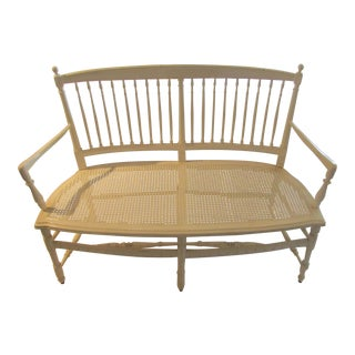 Spindle Back Curved Country Bench With Cane Seat