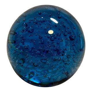 1960s Vintage Bubble Blue Art Glass Paper Weight For Sale
