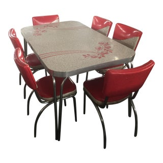 1950's Formica Table and Chairs Red and Grays For Sale