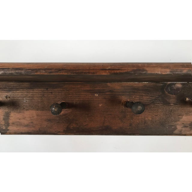 Rustic Mounted Shelf W/ Hanging Pegs For Sale - Image 4 of 9